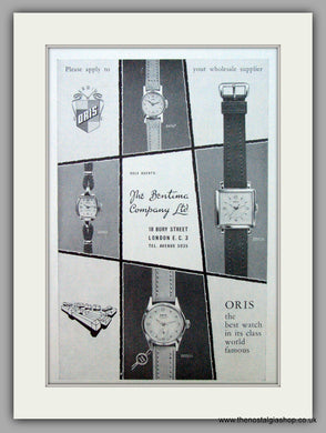 Oris Swiss Watches. Original Advert 1958.  (ref AD7374)
