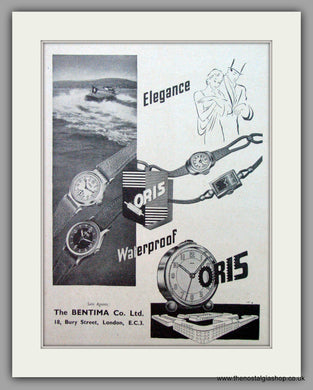 Oris Swiss Watches. Original Advert 1948.  (ref AD7376)