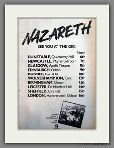 Nazareth. UK Tour. Original Advert 1980 (ref AD12089)