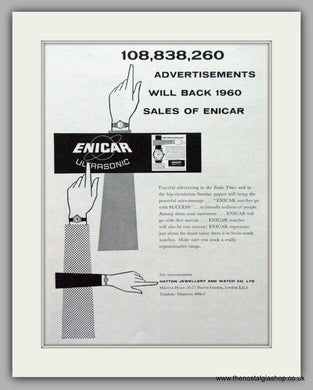 Enicar Ultrasonic Watches. Original Advert 1960.  (ref AD7584)
