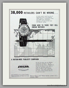 Enicar Ultrasonic Watches. Original Advert 1960.  (ref AD7585)