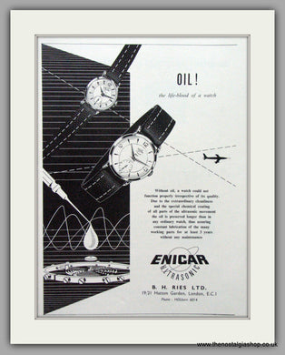 Enicar Ultrasonic Watches. Original Advert 1955.  (ref AD7587)