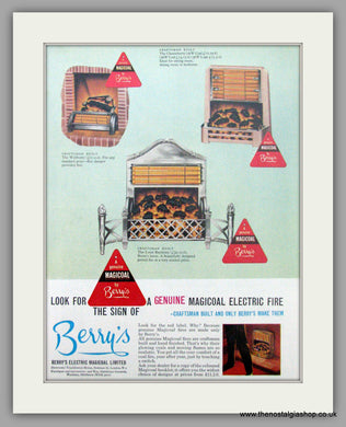 Berry's Magicoal Electric Fire. Original Advert 1962 (ref AD7459)