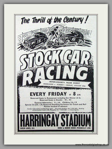Harringay Stadium Stock Car Racing. Original Advert 1954 (ref AD1989)