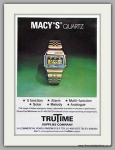Macy's Quartz Watches. Original Advert 1980.  (ref AD7671)