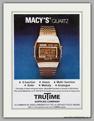 Macy's Quartz Watches. Original Advert 1980.  (ref AD7672)