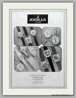 Josmar Watches. Original Advert 1980.  (ref AD7680)
