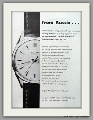 Poljot Russian Watches. Original Advert 1961.  (ref AD7685)