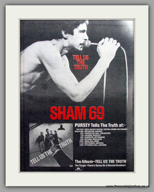 Sham 69. Tell Us The Truth. Vintage Advert 1978 (ref AD9567)