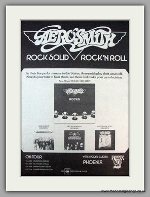 Aerosmith. Rock Solid, Also UK Tour Dates. Vintage Advert 1976 (ref AD9751)