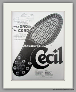 Cecil Chaussures. French Footwear.  Original Vintage Advert 1928 (ref AD10112)