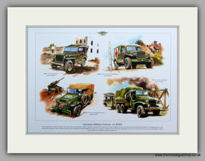 American Military Vehicles of WWII.  Mounted Print