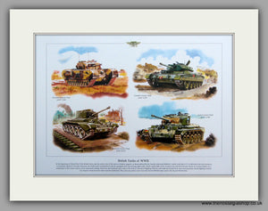 British Tanks of WWII.  Mounted Print