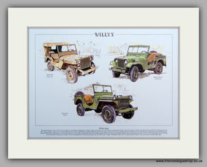Willys Jeep.  Mounted Print