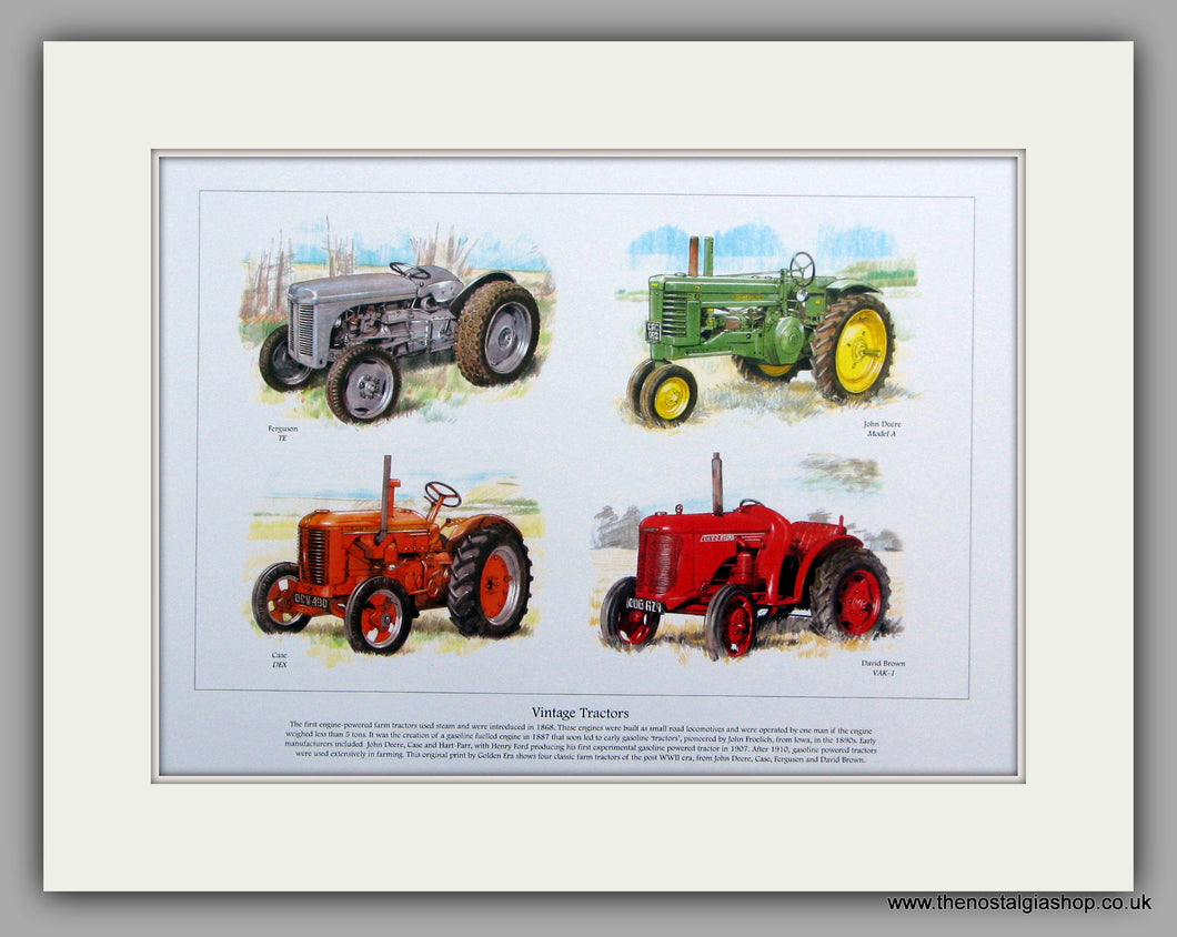 Tractor Vintage Classics.  Mounted Print