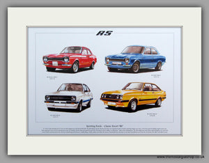 Ford Escort RS. Mk I & II.  Mounted Print