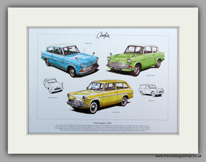 Ford Anglia 105E.  Mounted Print