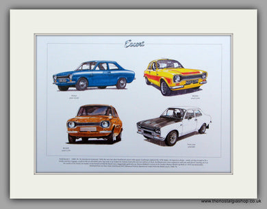 Ford Escort Mk I 1968 - 1974.  Mounted Print