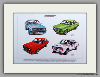 Ford Escort Mk II 1975 - 1980.  Mounted Print