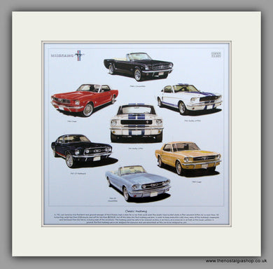Mustang Classics. Mounted Car Print