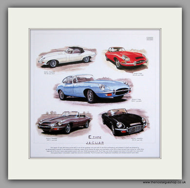 Jaguar E-Type. Mounted Print.