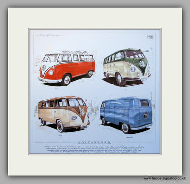 VW Transporter Split Screen 1950 - 1967. Mounted print