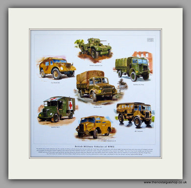 British Military Vehicles of WWII. Mounted Print.