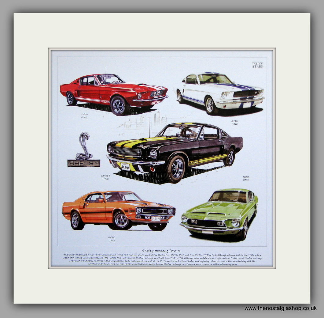 Mustang (Shelby) 1965-70. Mounted Car Print