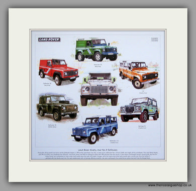 Land Rover 90, 110 & Defender. Mounted Print.