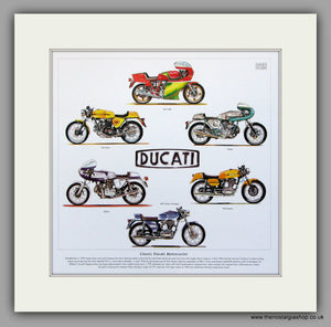 Ducati Motorcycles. Mounted Print.