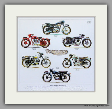 Triumph Motorcycles 1946 - 1968. Mounted Print.