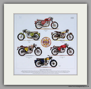 BSA Motorcycles 1960's. Mounted Print.