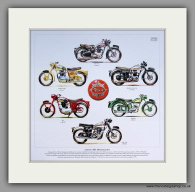 BSA Classic Motorcycles. Mounted Print.