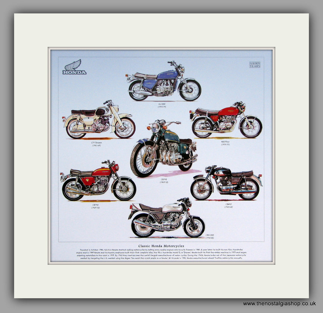 Honda Classic Motorcycles. Mounted Print.
