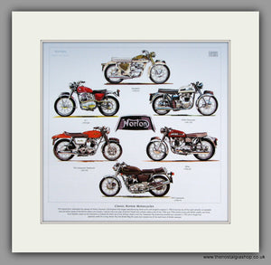 Norton Classic Motorcycles 1960's & 1970's. Mounted Print.