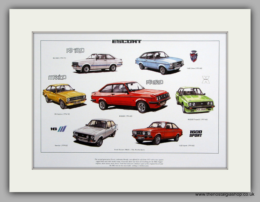Ford Escort Mk II The Performers. Mounted Print