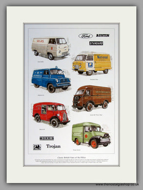British Vans of The 1950's.  Mounted Print.