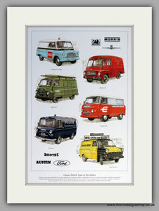 British Vans of The 1960's.  Mounted Print.