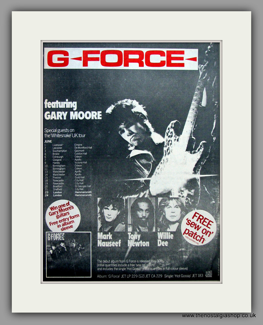 G Force with Gary Moore UK Tour Dates.  Original Vintage Advert 1980 (ref AD10440)