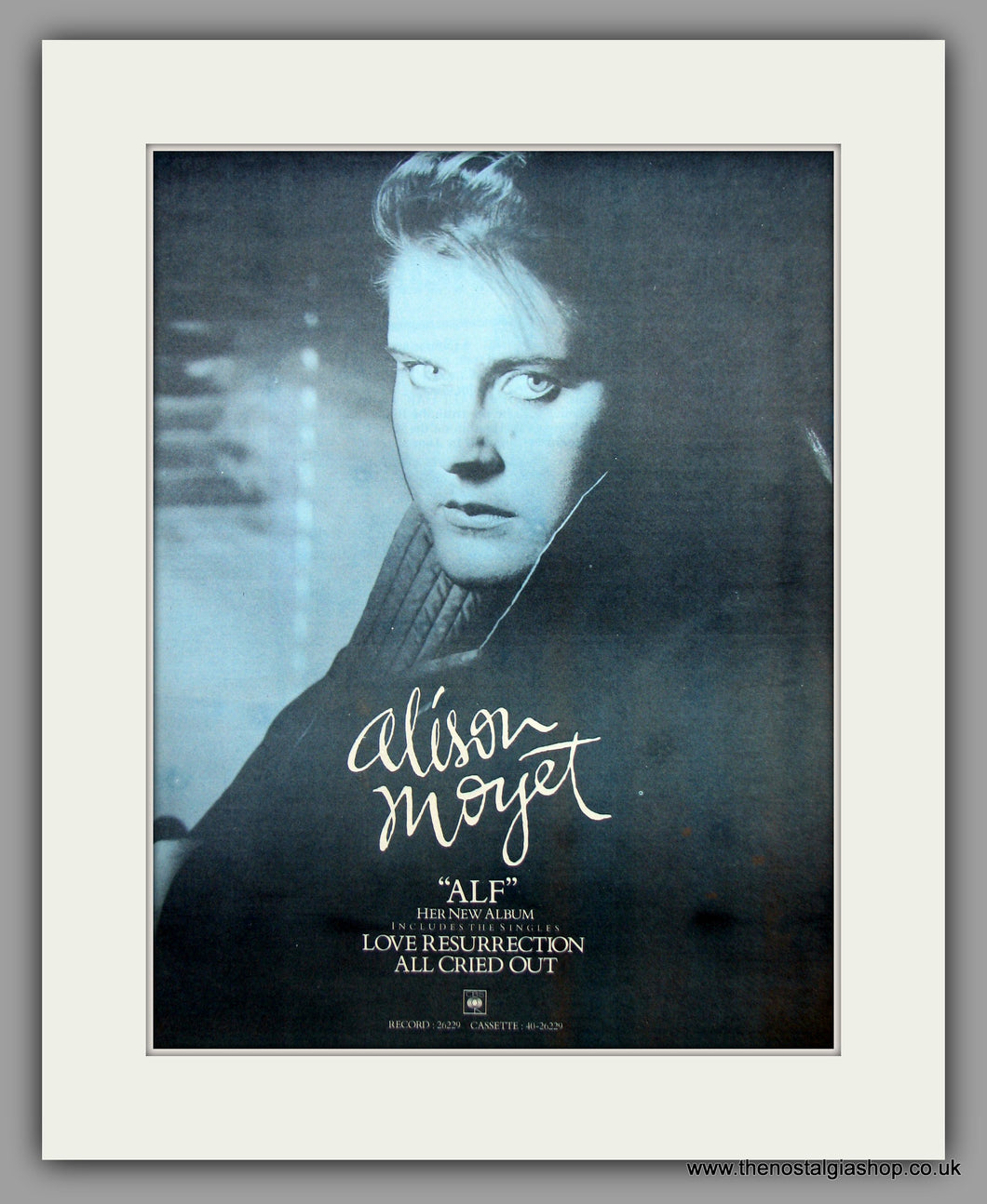 Alison Moyet. Alf. Love Resurrection.  Original Vintage Advert 1984 (ref AD10443)