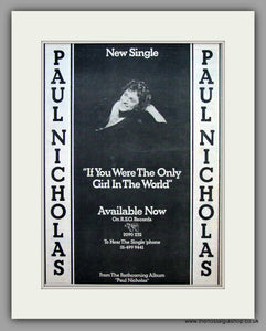 Paul Nicholas, If You Were The Only Girl In The World. Original Vintage Advert 1977 (ref AD10457)