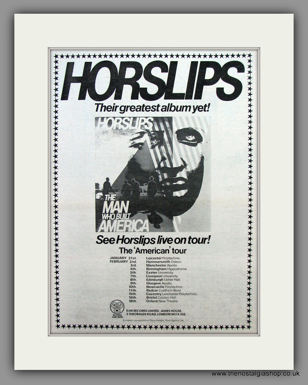 Horslips - The Man Who Built America On Tour.  Original Vintage Advert 1979 (ref AD10483)