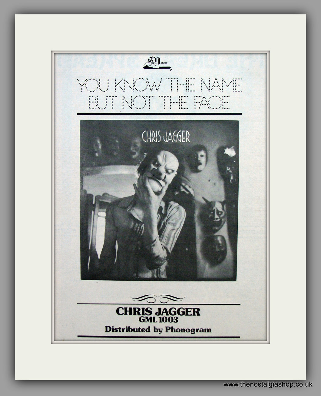 Chris Jagger - You Know The Name But Not The Face.  Original Vintage Advert 1973 (ref AD10485)