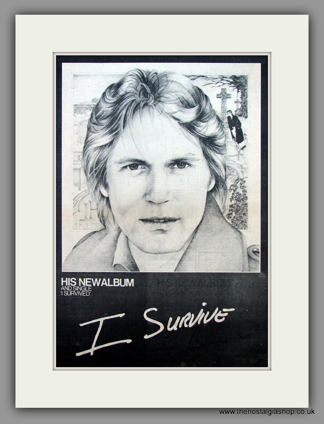 Adam Faith - I Survive.  Original Vintage Advert 1974 (ref AD10486)