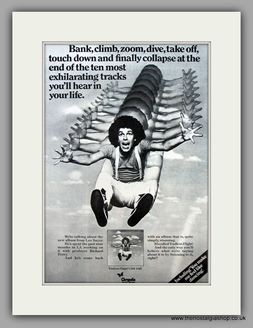Leo Sayer-Endless Flight.  Original Vintage Advert 1976 (ref AD10497)