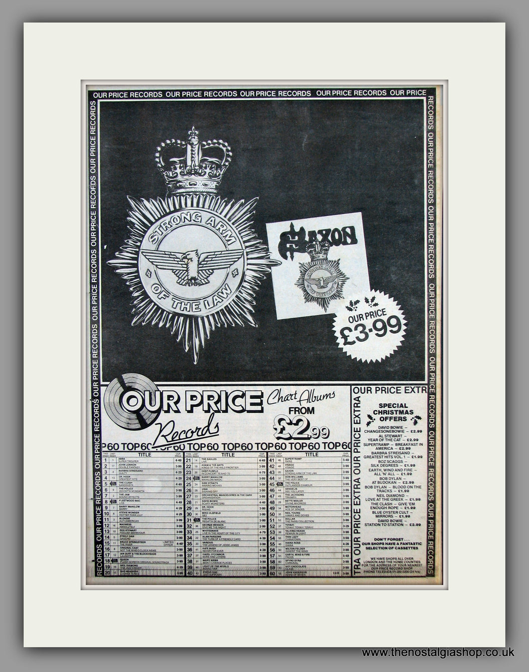 Saxon-Strong Arm Of The Law.  Original Vintage Advert 1980 (ref AD10498)