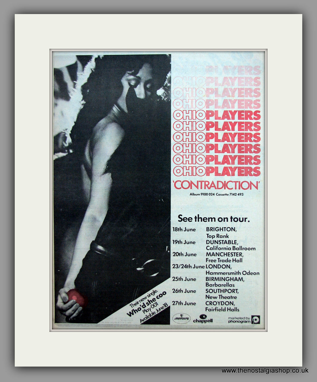 Ohio Players-Contradiction Tour Dates.  Original Vintage Advert 1976 (ref AD10507)