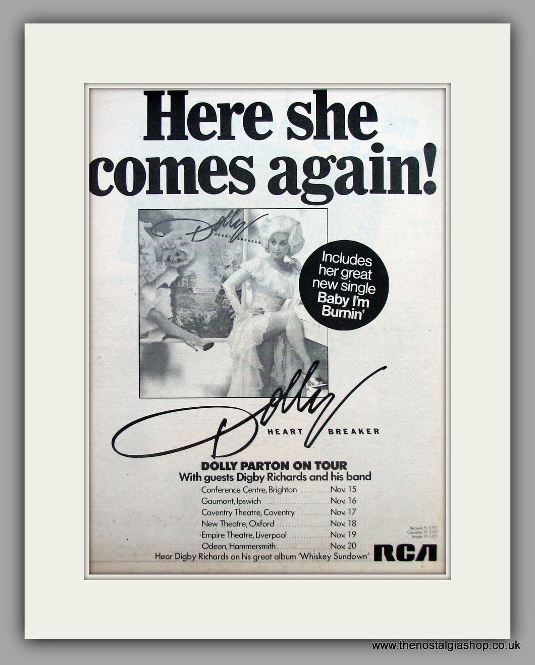 Dolly Parton-Here She Comes Again.  Original Vintage Advert 1978 (ref AD10515)