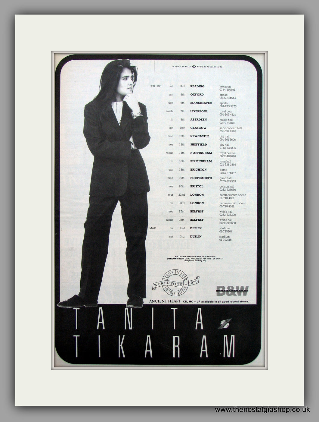 Tanita Tikaram Tour Dates.  Original Vintage Advert 1989 (ref AD10560)