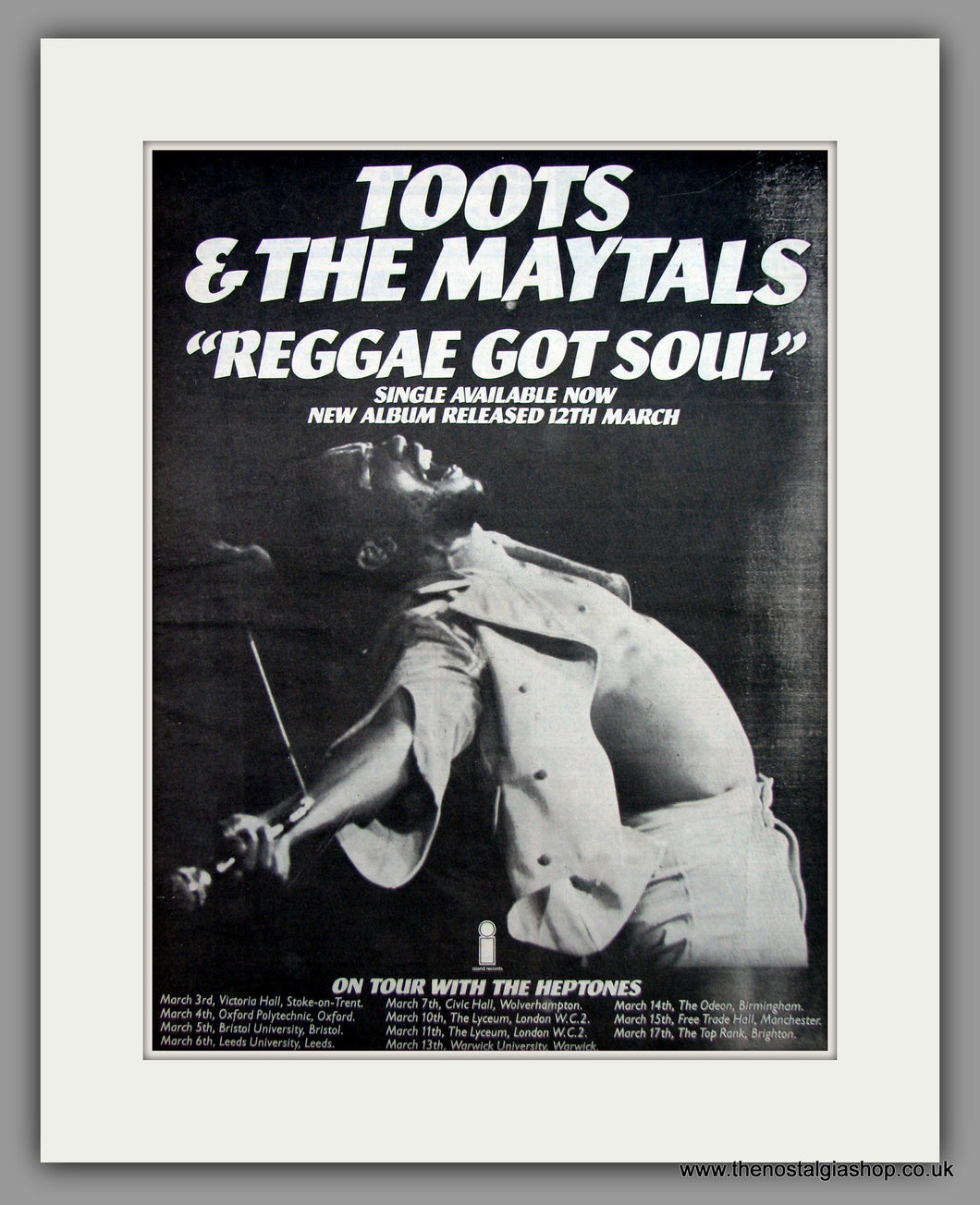 Toots & The Maytals-Reggae Got Soul.  Original Vintage Advert 1976 (ref AD10561)